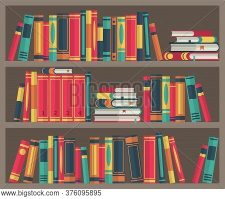 Library Room. Book Stacks In Bookcase. Various Books In Bookshelf Stand And Lie, Colorful Covers, Wo