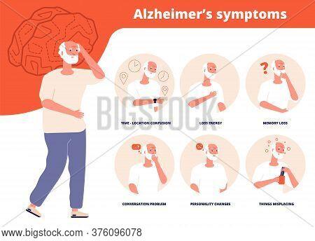 Alzheimer Symptoms. Adult Mentally Problems, Seniors Disabled. Elderly Loss Memory, Dementia Informa