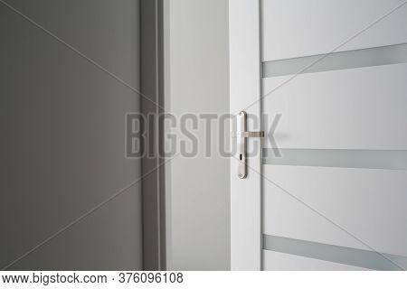 New Apartment Studio Wooden Door. Interior Modern Architecture Background. Indoor Empty House. Metal