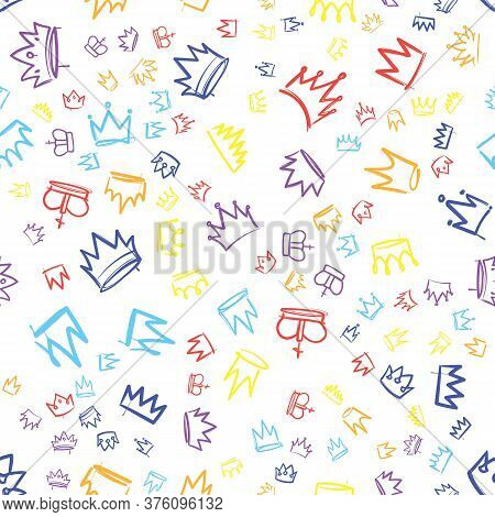 King Crown Sketches. Hand Drawn Seamless Pattern With Various Multicolored Crowns, Majestic Tiara, B