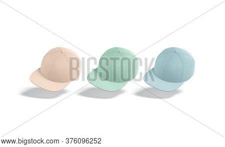 Blank Colored Jeans Snapback Mockup, No Gravity, 3d Rendering. Empty Pink, Green, Blue Headgear Mock