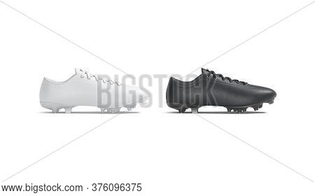 Blank Black And White Soccer Boot With Rubber Cleats Mockup, 3d Rendering. Empty Running Or Football