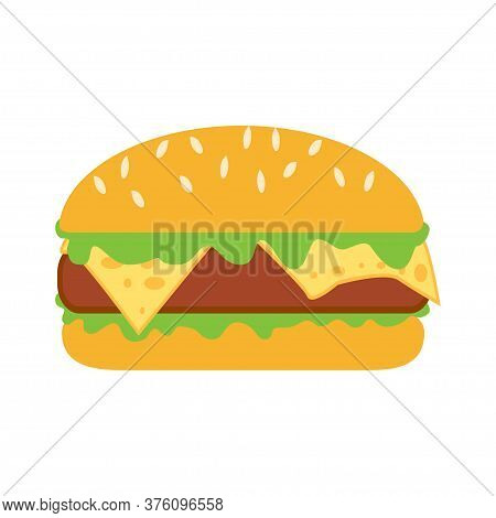 Burger Icon. Isolated Cheeseburger On White Background. Fast Food Sign. Burger With Sesame. Vector I