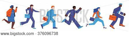 Symbolic Representation Of Business Competition With Business People Cartoon Character Running In Ho
