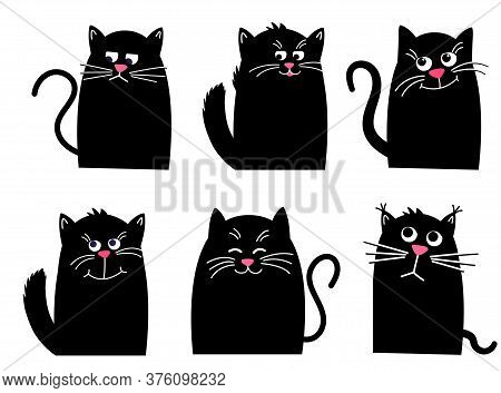 Set Black Cat. Funny Kawaii Animal. Pets Collection. Isolated On White
