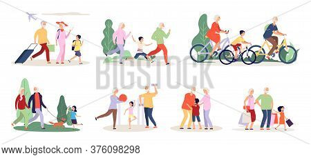 Grandparents And Grandchildren. Old People Activity With Boy Girl. Travel Ride Bicycle Doing Sport E