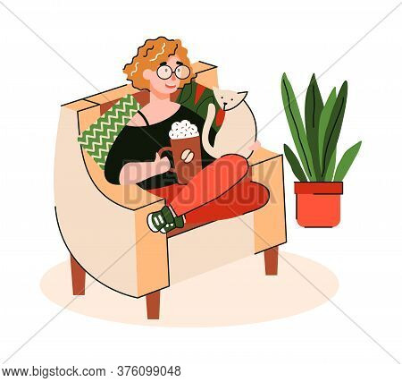 Woman Cartoon Character Enjoying Morning Coffee Sitting In Comfy Chair, Flat Vector Illustration Iso