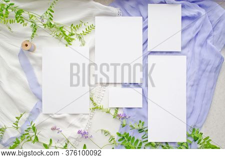 Wedding Mockup Set With Violet Flowers And Delicate Silk Ribbons On A White Background. Greeting Car