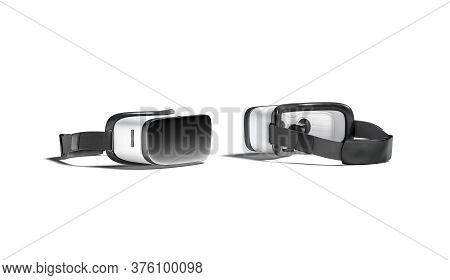 Blank White Virtual Reality Goggles Mockup, Front And Back Side, 3d Rendering. Empty Cyberspace Simu