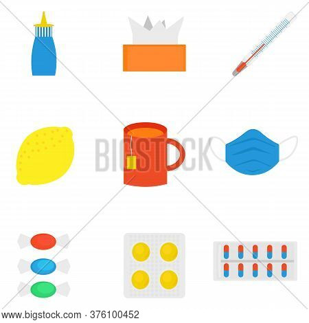 Influenza, Seasonal Colds. Set Of Cold Treatment Icons. Medicines, Pills, Thermometer