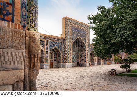 Tilya-kori Madrasah In Historic Registan Square, Samarqand, Uzbekistan