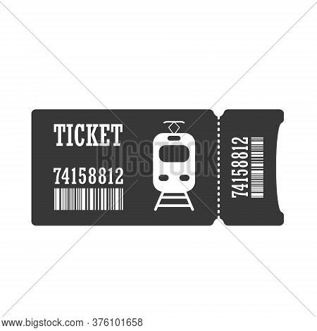 Ticket For An Electric Train Or Tram. Simple Vector Icon Isolated On A White Background For Websites