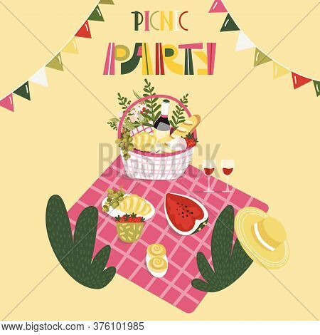Picnic Party Template For Poster, Card. Wicker Basket With Bottle Of Wine, Bread, Croissant, Fruits