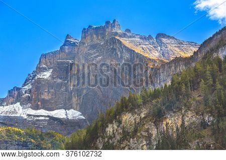 Switzerland, Panoramic View Of Swiss Alps Rocky Mountain Peaks, Jungfraujoch, Ski Resort, Bernese Ob