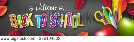 Back To School Typography Design With Realistic School Supplies, Apples And Autumn Leaves. 3d Text O