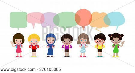 Cute Kids With Speech Bubbles, Set Of Diverse Kids And Different Nationalities With Speech Bubbles I