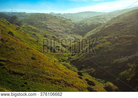 Coast Of Portugal, Cape Roca, Westernmost Point Of Europe. Hills Surrounding Cabo Da Roca. Landscape