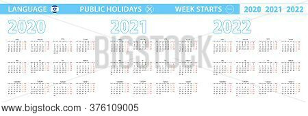 Simple Calendar Template In Hebrew For 2020, 2021, 2022 Years. Week Starts From Monday. Vector Illus