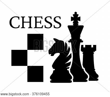 Chess Tournament Logo. Chess Pieces Silhouettes King Knight Rook. Vector Illustration