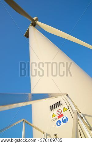 Access stairway to a wind turbine for electric power production, Zaragoza province, Aragon in Spain.