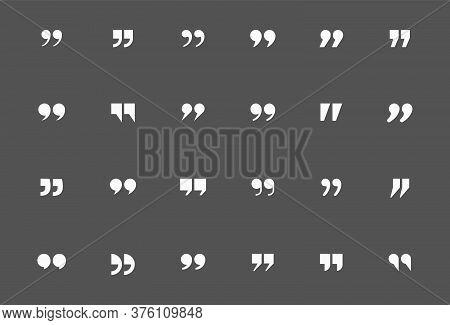 Quote Mark Icon Set For Conversation Or Definition. Quote Speech Symbol Vector Illustration. Citatio