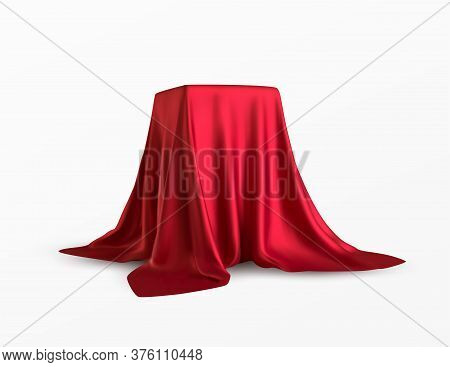 Realistic Box Covered With Red Silk Cloth. Isolated On White Background. Satin Fabric Wave Texture M
