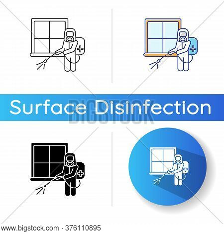Room Fumigation Icon. Linear Black And Rgb Color Styles. Home Decontamination, Professional Disinfec