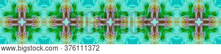Floral Border. Watercolor Majolica Tile. Ogee Geo Pattern. Green, Blue Seamless  Patterns Lisbon Dec