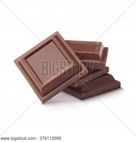 Pieces Of Milk Chocolate Bar Isolated On White Background In Vector Illustration