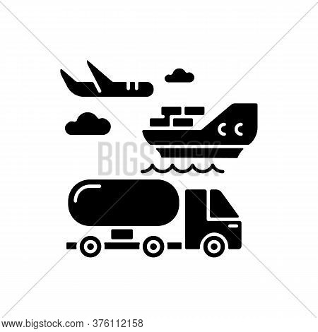 Shipping Black Glyph Icon. Freight Transportation, Delivery Service Silhouette Symbol On White Space