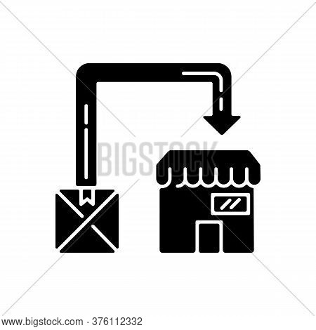 Post Manufacturing Black Glyph Icon. Post Production, Commercial Distribution Silhouette Symbol On W