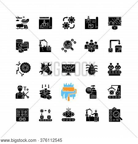 Production Process Black Glyph Icons Set On White Space. Manufacturing Industry Silhouette Symbols.