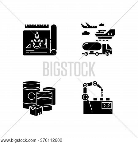 Industrial Production Black Glyph Icons Set On White Space. Raw Materials, Product Drafting, Automat