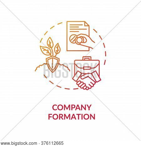 Company Formation Concept Icon. Business Partners Handshake. Official Document Seal. Incorporation C