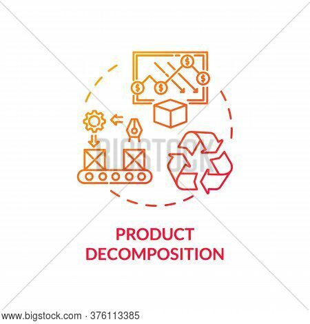 Product Decomposition Red Gradient Concept Icon. Merchandise Lifecycle. Sorting Machinery. Product M