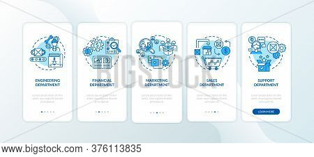 Departments Onboarding Mobile App Page Screen With Concepts. Finance And Commerce. Product Managemen