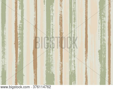 Watercolor Strips Seamless Vector Background. Striped Tablecloth Textile Print. Torn Paper Effect Et