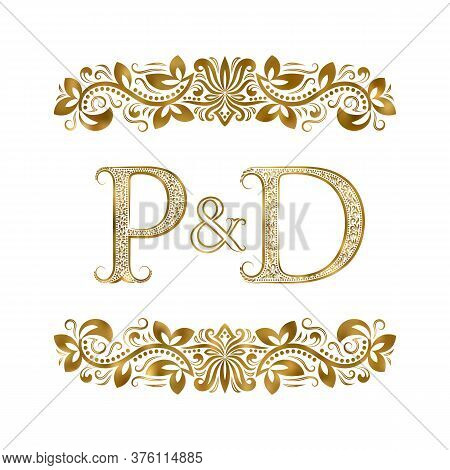 P And D Vintage Initials Logo Symbol. The Letters Are Surrounded By Ornamental Elements. Wedding Or