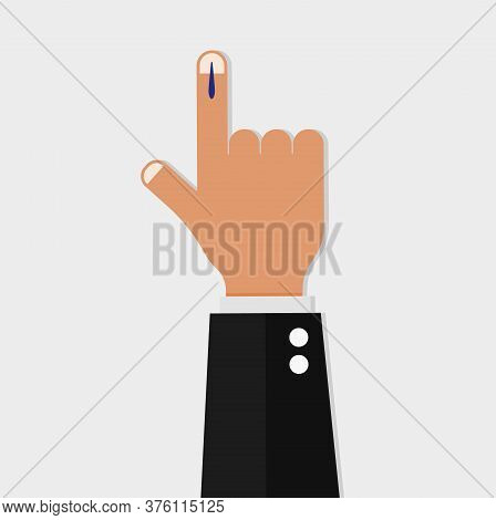 Vote Sign In India. Voting Hand Marked With An Index Finger National Democratic Elections Patriotic