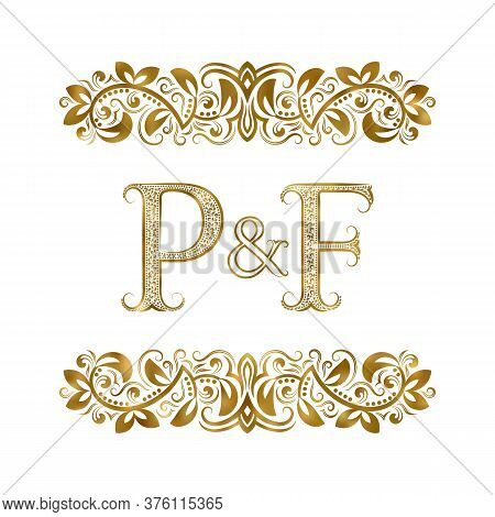 P And F Vintage Initials Logo Symbol. The Letters Are Surrounded By Ornamental Elements. Wedding Or