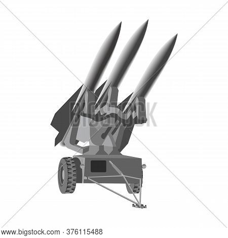 Missile Is Launched By Launcher By Army Vector Illustration