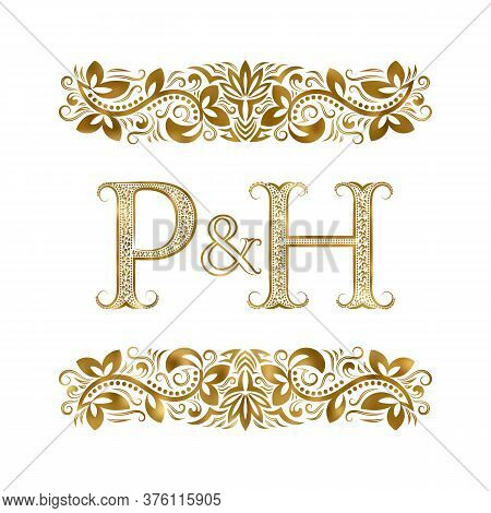 P And H Vintage Initials Logo Symbol. The Letters Are Surrounded By Ornamental Elements. Wedding Or