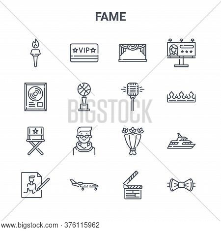 Set Of 16 Fame Concept Vector Line Icons. 64x64 Thin Stroke Icons Such As Vip, Gold, Crown, Flower B