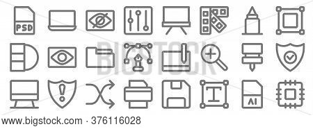 Graphic Design Line Icons. Linear Set. Quality Vector Line Set Such As Cpu, Text Box, Printer, Compu