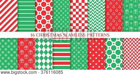 Xmas Seamless Pattern. Vector. Christmas, New Year Wrapping Paper. Backgrounds With Tree, Gift Box,