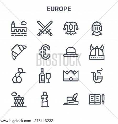 Set Of 16 Europe Concept Vector Line Icons. 64x64 Thin Stroke Icons Such As Crossed, French, Viking