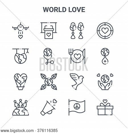 Set Of 16 World Love Concept Vector Line Icons. 64x64 Thin Stroke Icons Such As Tribune, Graduation,