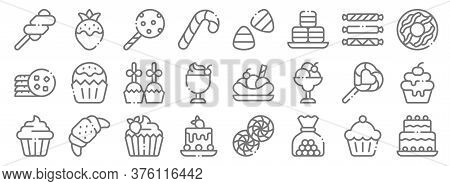Desserts Candies Line Icons. Linear Set. Quality Vector Line Set Such As Birthday Cake, Candy, Piece