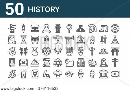 Set Of 50 History Icons. Outline Thin Line Icons Such As Documentary, Diamond, Bible, Shell, Treasur