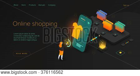 Online Shopping Or E-commerce Isometric Vector Illustration. Internet Store Checkput Procedure Conce
